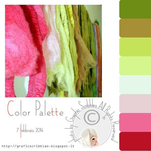 Color palette of 7 febberaio 2014 http://graficscribbles.blogspot.it/2014/02/palette-colori-ciliegia-rosa-verde.html
