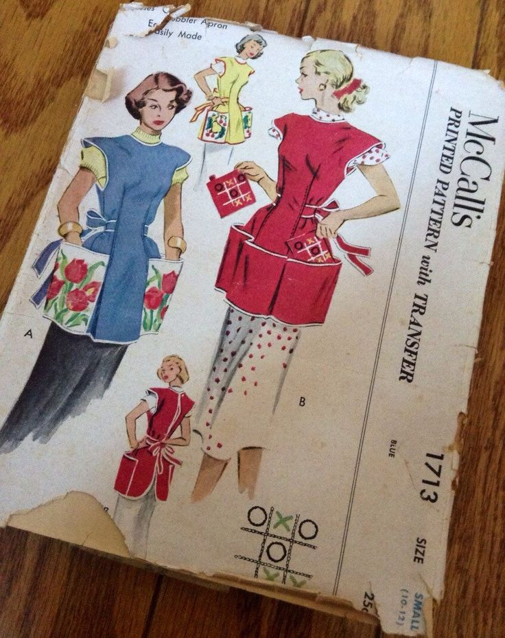 Vintage McCalls 1713 1952 Cobbler Apron Printed Pattern with Transfer for Hot Pads Size Small 10-12 Sewing Pattern, Retro 50's, Pockets, Sew by BlueRidgeRevivals on Etsy https://www.etsy.com/listing/264857544/vintage-mccalls-1713-1952-cobbler-apron