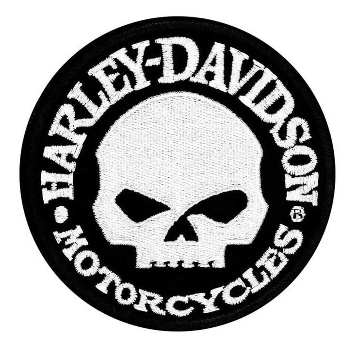 """A """"HARLEY-DAVIDSON PATCH WILLIE G. SKULL HUBCAP EMBLEM"""" PATCH, ACCESSORIES"""