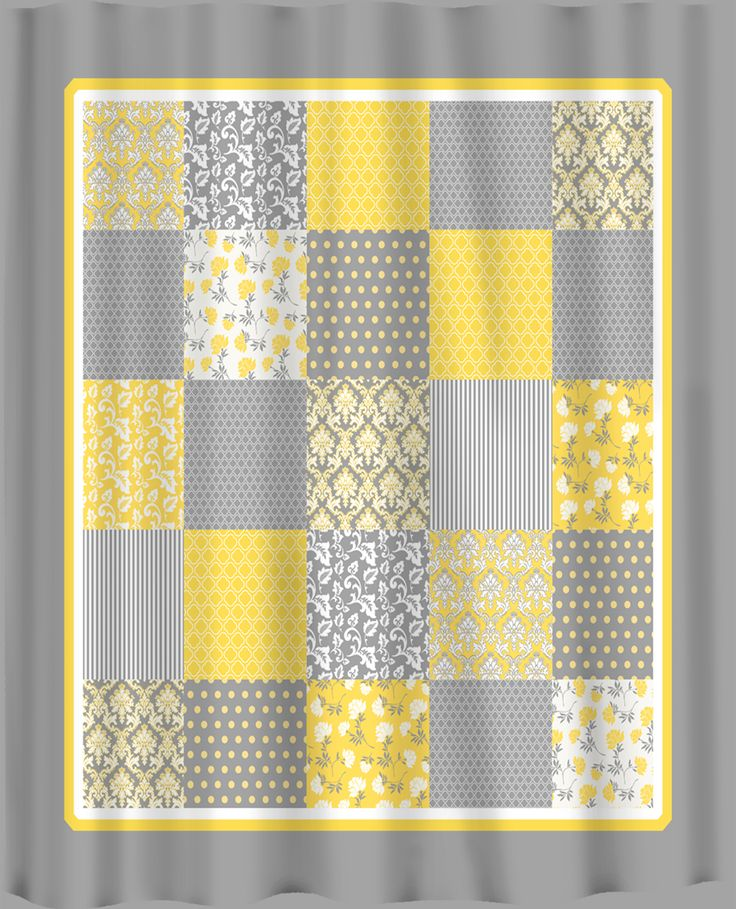 Yellow Curtains | French Country Patchwork Shower Curtain   Yellow, Grey  And White