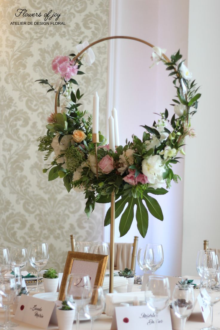 Take a look at our special circular  flower arrangements. Hydrangea and roses, and a lot of greenery!