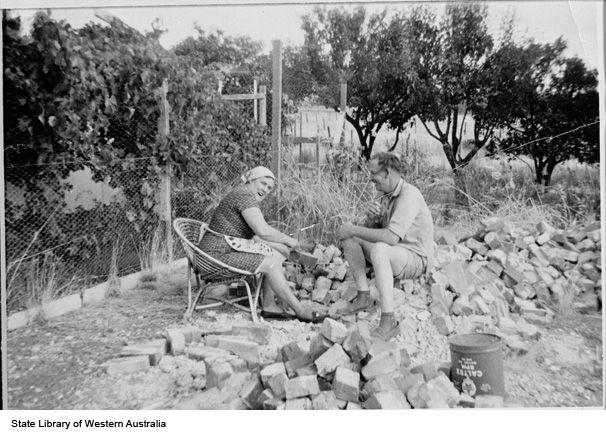 Cornelius and Cornelia Post cleaning bricks for their Northam home https://encore.slwa.wa.gov.au/iii/encore/record/C__Rb1986222