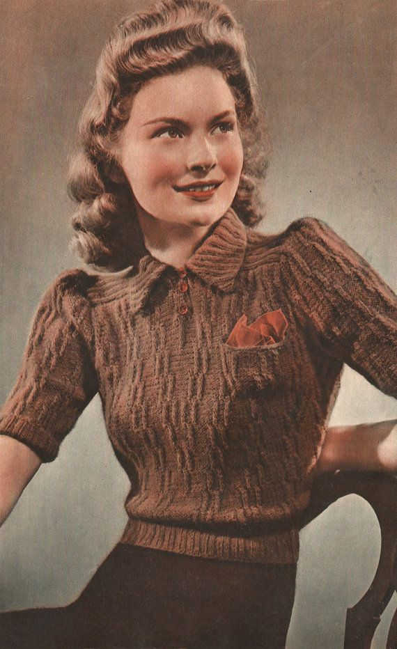 1940s Knitting Pattern for Womens Blouse / Jumper - Short puffed Sleeves - 37 38 in bust - Digital PDF Get Chic Fashionable Women's Tops(patterns for women's tops women's designer tops cheaps  women's draped tops women's elegant tops  women's embroidered tops and accessories at 90% wholesale price! free shipping worldwide}