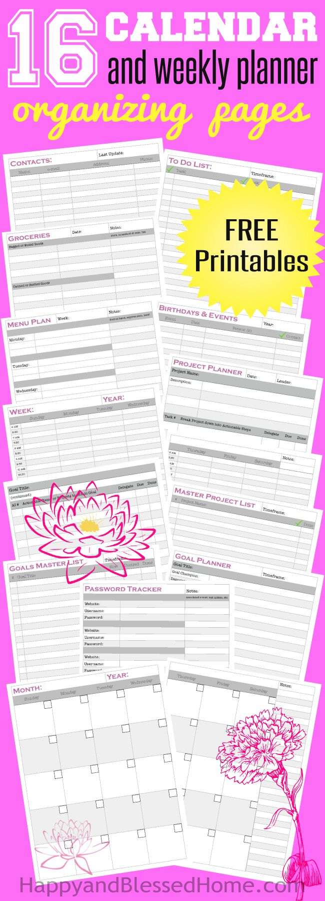 Yearly Monthly and Weekly - Everything you need in a DIY planner and organizer plus goal setting tools and project plans (140+ printed pages). Perfect 2016 Planner. Organization tools include: Goals Master List, Goal Planner, Actionable Steps, Password Tracker, Month at a Glance , Week at a Glance, Birthdays and Events, Contacts, Project Master List, Project Planner Weekly Menu Planner, Grocery List To Do List, and Year at a Glance Calendar