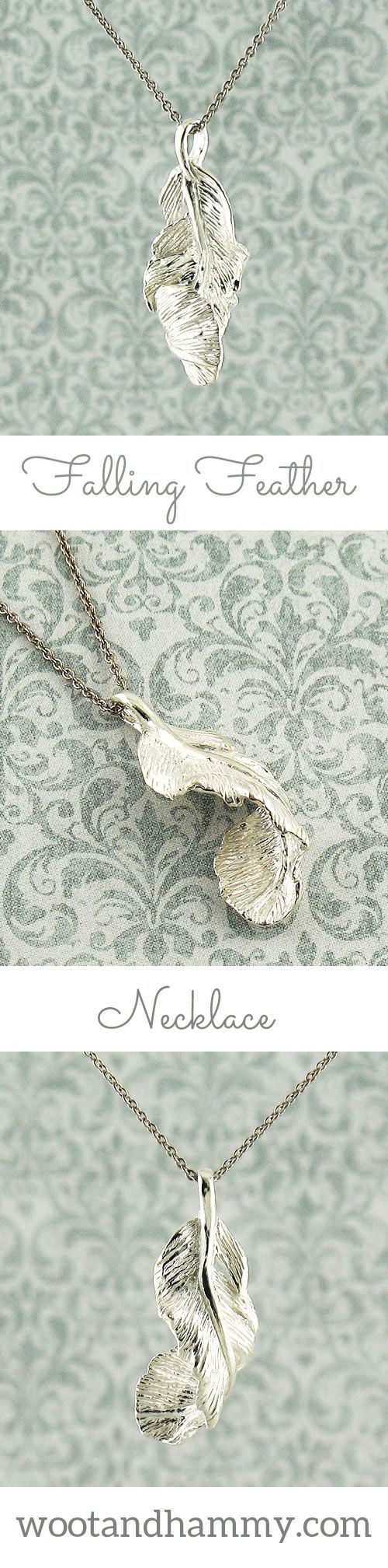 Feathers are sometimes seen as messages from angels or loved ones who have passed on. A feather can suddenly fall from the sky, just at a moment when you might need comfort or encouragement that you are following the right path. 'Falling Feather' Necklace in sterling silver.