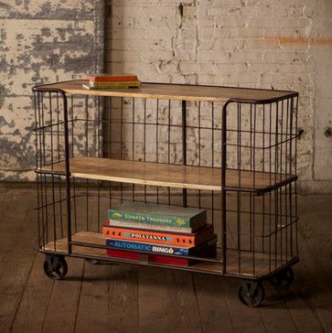 Costs too much but would love something like this for the green room (wood/iron casters/bar cart)  Iron And Wood Three Shelving Unit With Iron Casters eclectic bar carts