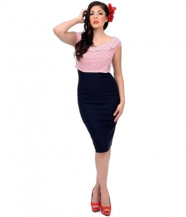 Stop Staring! 1940s Style Red & Navy Wiggle Dress # ...