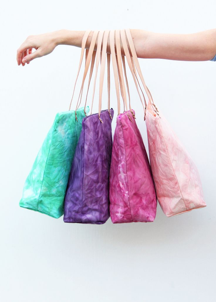 Hand dyed organic cotton tote bags by Twill & Print
