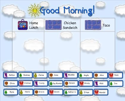 Morning Calendar - Morning Calendar routines for the primary grades. Includes Lunch Count, Morning Song Selector, Calendar, Seasons, Today's Number using base-10 blocks and number grid (how many days in school), Money, Weather, and Timer.  Resource type: SMART Notebook lesson
