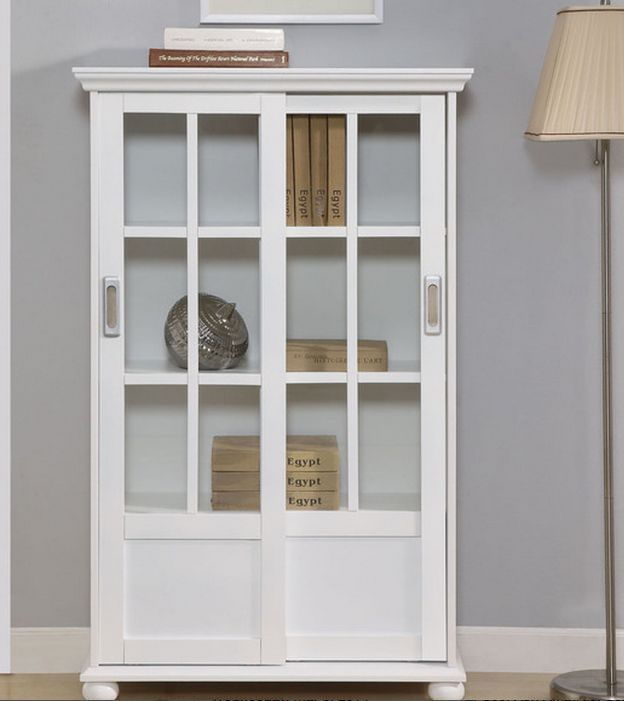 Sliding Glass Door Bookcase China Cabinet Hutch Armoire White Curio Display Case Sliding Glass