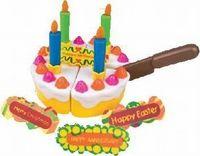 """Набор """"Праздничный торт""""Пора устроить праздник, пригласить друзей – кукол и плюшевых игрушек и устроит чаепитие с праздничным клубничным тортом. Торт даже можно резать специальным ножом на равные части, т.к. кусочки соединены между собой липучками. А лопаточкой, которая входит в набор разложить по тарелочкам кусочки.В наборе: торт, нож, свечи, таблички в виде названий праздника. Материал: пластмасса. Диаметр торта: 20 см. Возраст:с 3лет. #детскиетовары #игрушки #детскоетворчество #набордлятв"""
