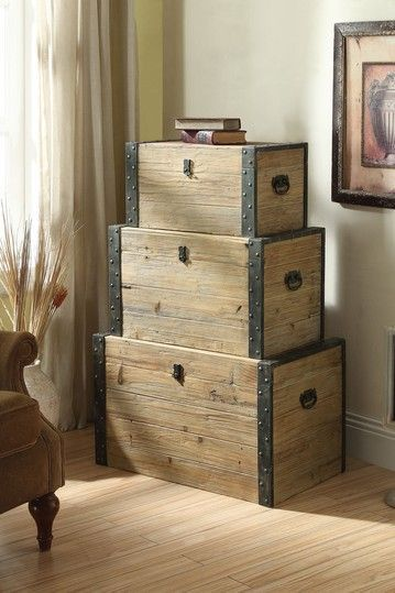 wooden treasure chests for stacking storage