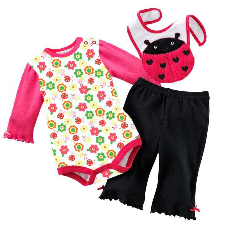 floral ladybug suits sets newborn clothing sets romper babywear long bibs pant toddler bib tops bodysuits overall jumpsuits W98 #Affiliate