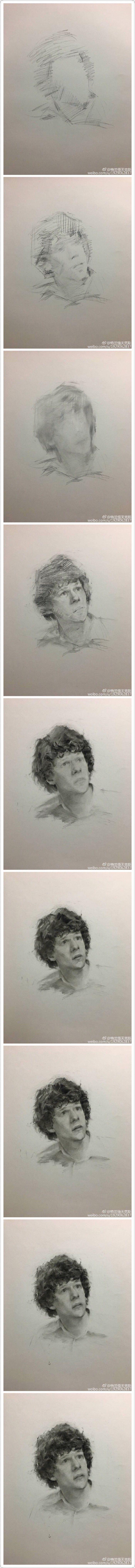 微博:特兰悟天克斯    素描q群535719469   素描步骤  肖像画