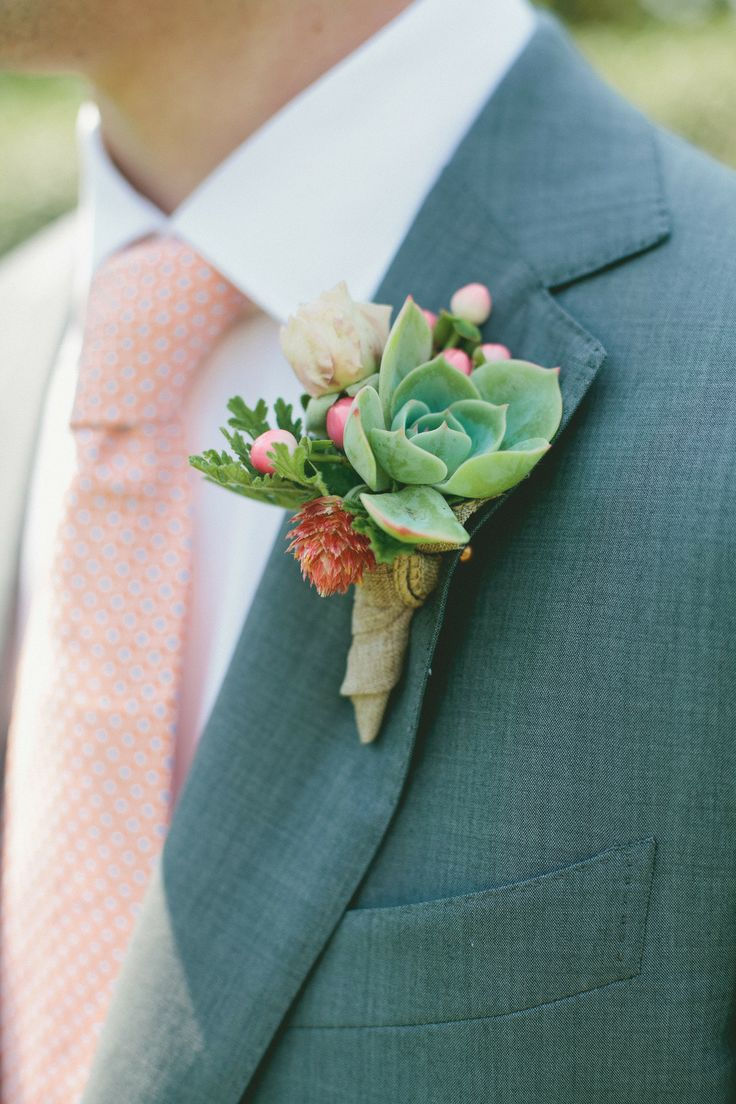 #succulent #boutonniere Photography: onelove photography - onelove-photo.com, Florals by http://www.poppystonedesigns.com  Read More: http://stylemepretty.com/2013/10/21/orange-themed-wedding-in-griffith-woods-from-onelove-photography/