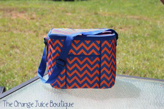 Monogrammed Orange and Blue Chevron Cooler-Auburn University- Florida Gators- Game day- Tailgate