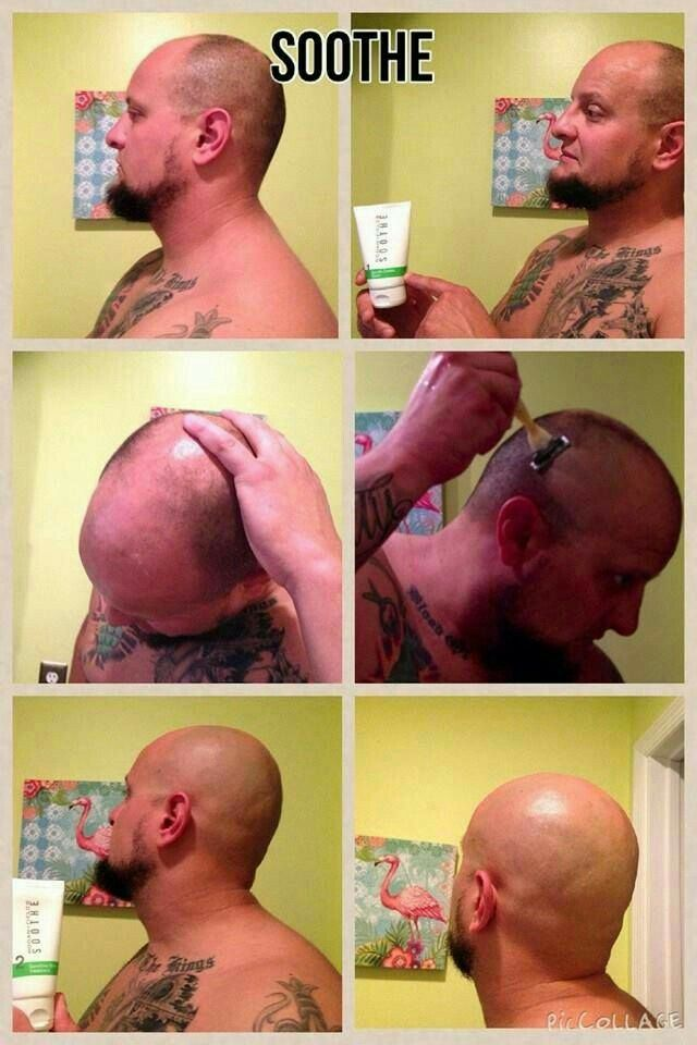 """For all men who shave their heads... This is fellow consultant, Justin Messingham's results: He said """"Ok so I'vebbeen telling people I've only been shaving my head with Rodan and Fields Soothe wash and a dry razor. No foams no shave gels no creams no lubricated blades. Most people said """"yea right"""" so heres a picture collage to prove my point lol. Super smooth and not 1 bump or red burn mark. Used Soothe 2 after and good to go!!"""""""