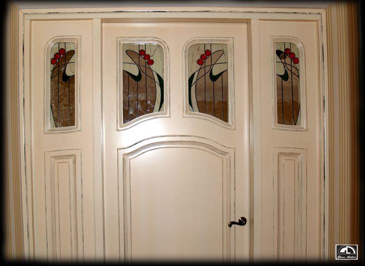 drzwi wewnętrzne #glassatelier , #witraże , #stainedglass , #overlay , #vitrail , #vitraj , #glass , #szkło , #handmade , #glassart