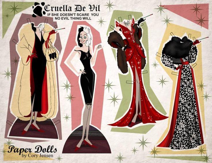 Free printable paper dolls: Cruella de Vil by Cory Jensen