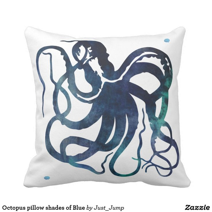 Octopus pillow shades of Blue blue home under water paint pillow squid ink