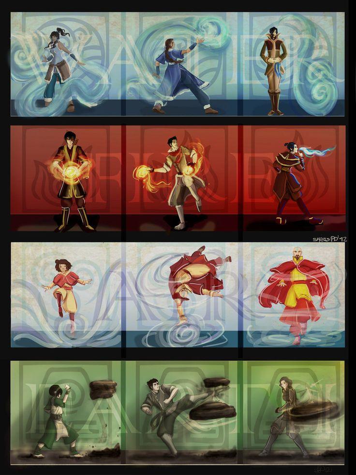 avatar the legend of zuko | Elements: Korra, Katara, Tahno, Zuko, Mako, Azula, Jinora, Aang ...