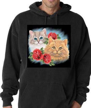 Hoodie shirts two cats with three roses screen by tshirtsdepo, $34.99