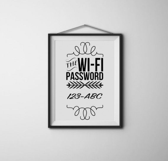 7 unique DIY gifts for neighbors. This one is a framed wifi password in case they need time to set up theirs, they can use yours. Also, you can consider having a QR code instead of it written out. Just take a picture to access the wifi! Would be something nice to do for a neighbor who just moved in!
