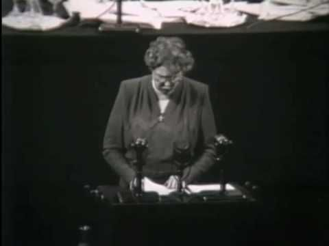 Eleanor Roosevelt addresses the United Nations on the ratification of the Universal Declaration of Human Rights
