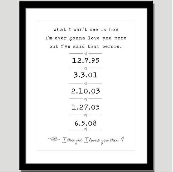 I thought I loved you then print - special dates with lyrics by Brad Paisley - I am thinking it is the perfect gift for our 10th anniversary