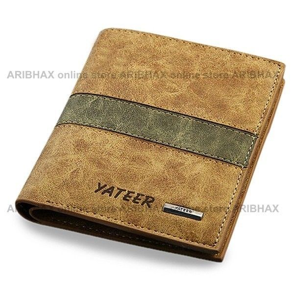 Short Soft Synthetic Leather Wallet for Men (Vertical) #Yateer #Bifold