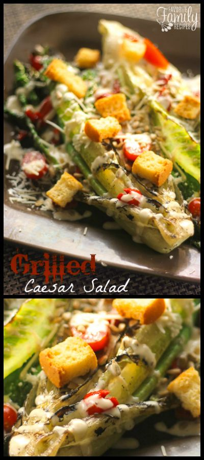This Grilled Caesar Salad will change the way you eat this classic salad. Grilled romaine lettuce with cool Caesar dressing and savory toppings. via @favfamilyrecipz