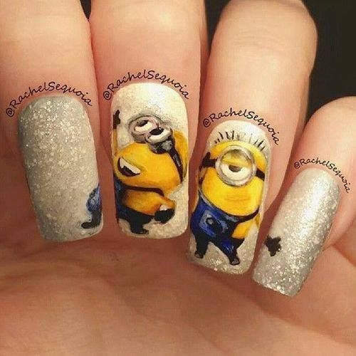 Despicable Me Minion Nail Art check out www.ThePolishObsessed.com for more nail art ideas. https://www.facebook.com/shorthaircutstyles/posts/1760985607525212