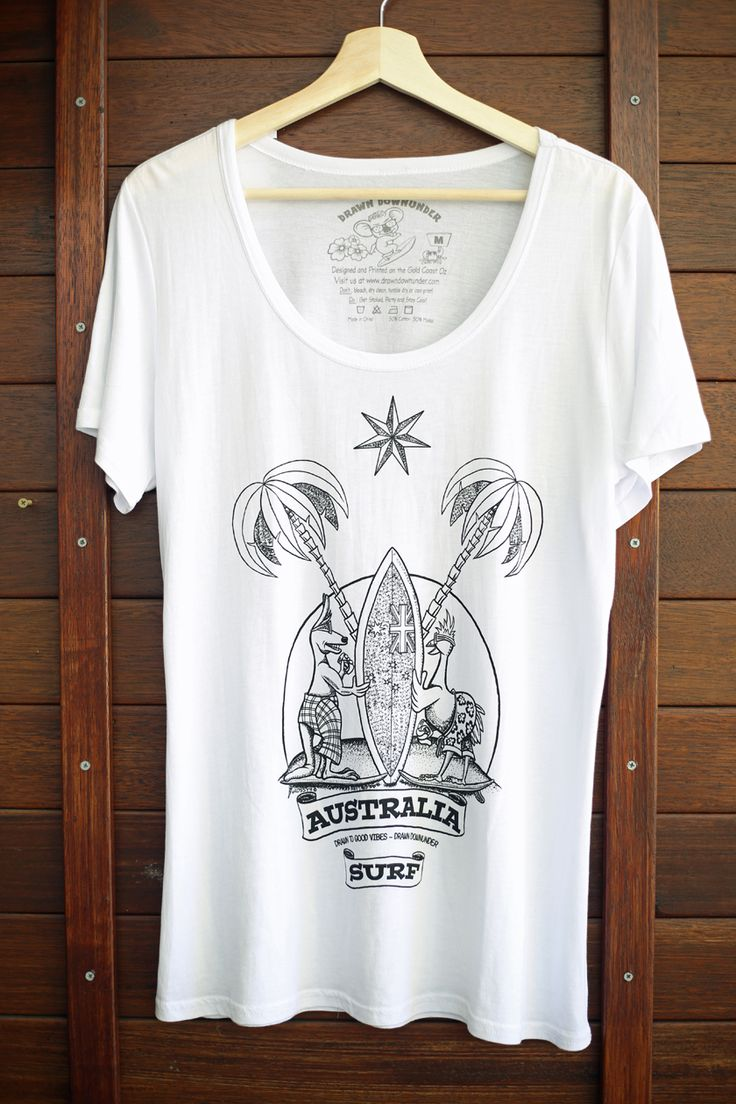 WOMEN'S AUSTRALIAN SURFERS COAT OF ARMS TEE OR SINGLET IN WHITE.  Quality materials, pre-shrunk with cool internal printed tag for comfort and style.  Drawn to good vibes - Drawn Downunder.
