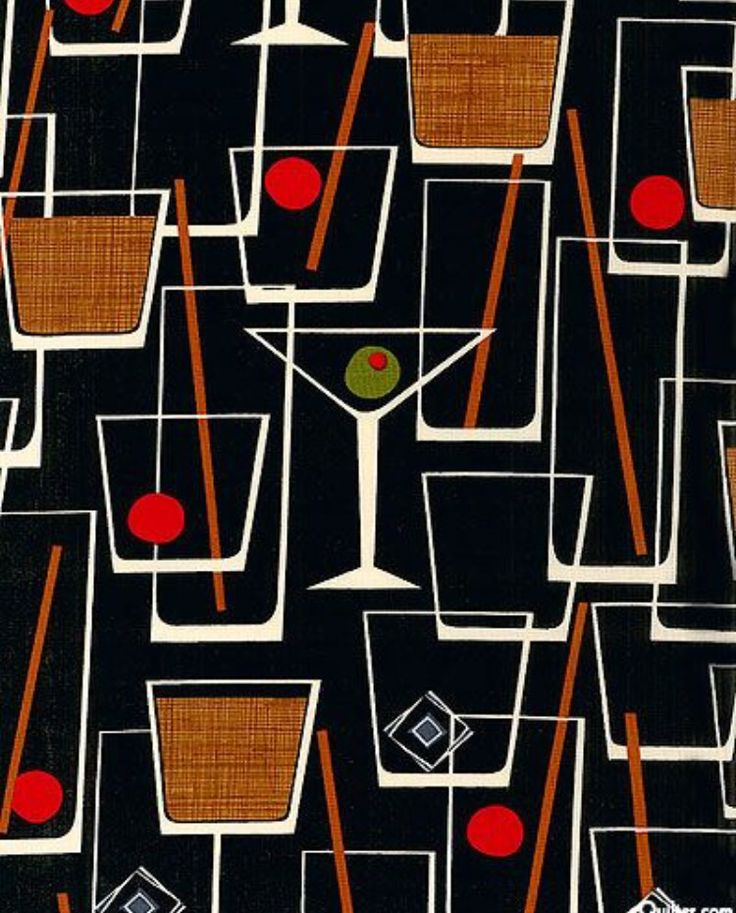Cocktails & kitsch. This 1950's midcentury modern print/ pattern is fab and certainly getting us in the mood for a tipple at the weekend. (Or two)