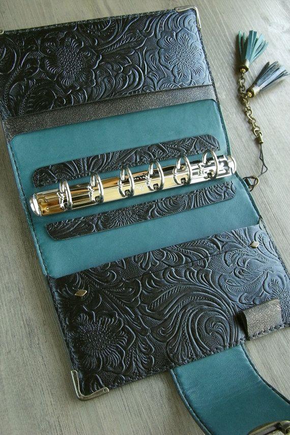 handstitched leather binder black and teal veg by kikosattic