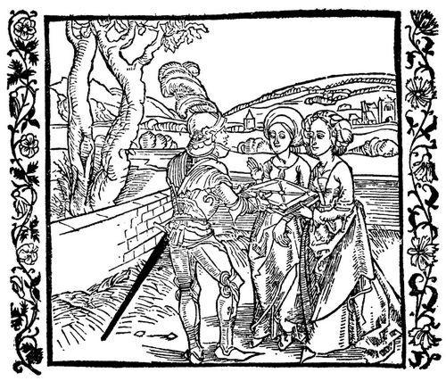 Dürer, Albrecht: Illustration zum »Der Ritter vom Turn«, Szene: Der Ritter vom Turn überreicht seinen Töchtern das Buch