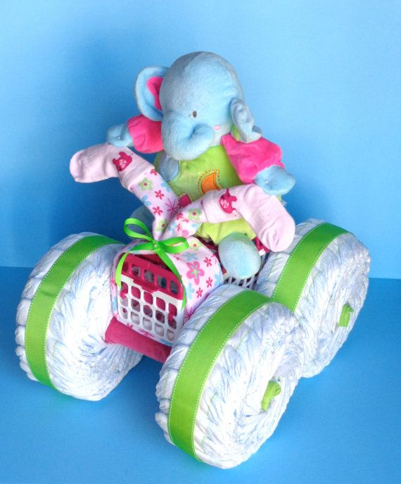 Diaper Cake  4Wheeler  Diaper Quad by PamperedBabyCreation on Etsy, $85.00