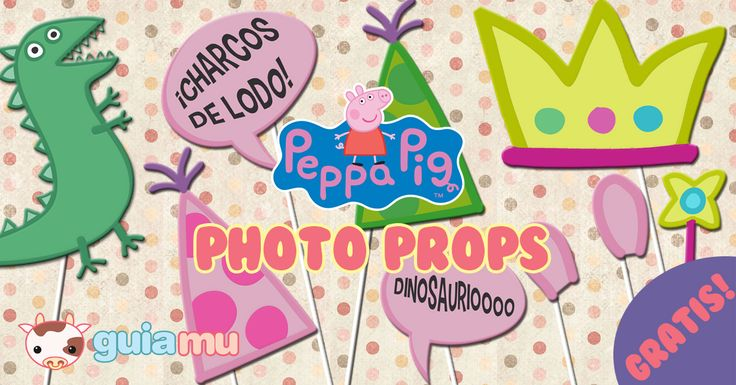 Free Printables! Peppa Pig Photo Props for photobooth. Kids Partys #Free #printables #props #photo