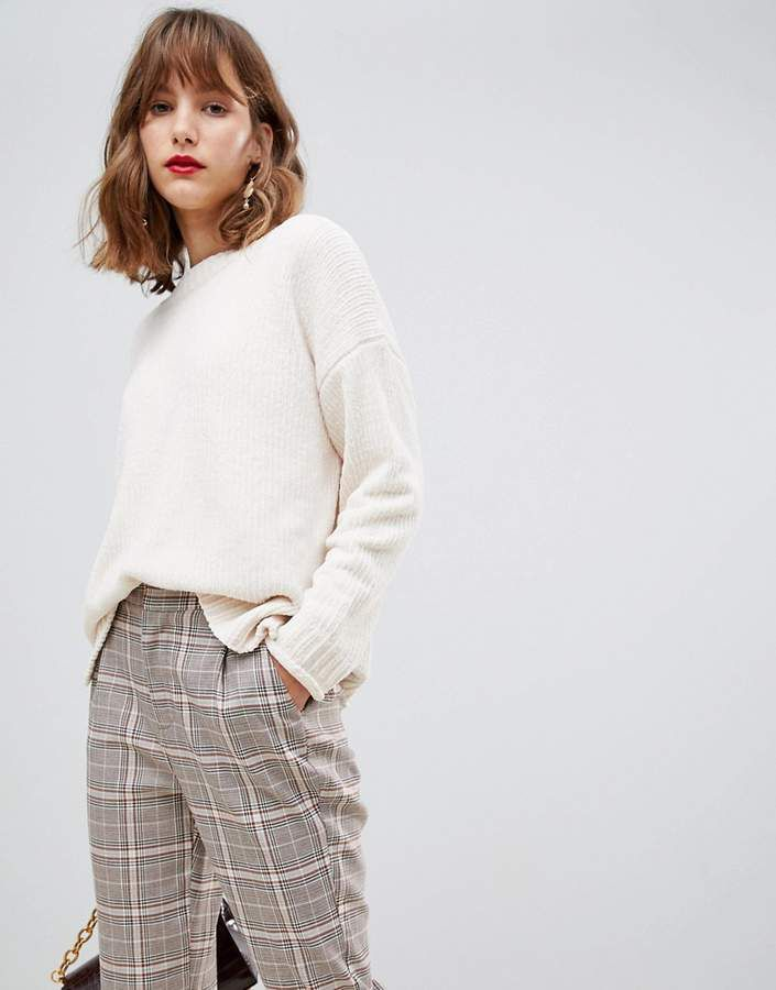 Stradivarius Soft Touch Knitted Sweater In Cream Ropa Bershka