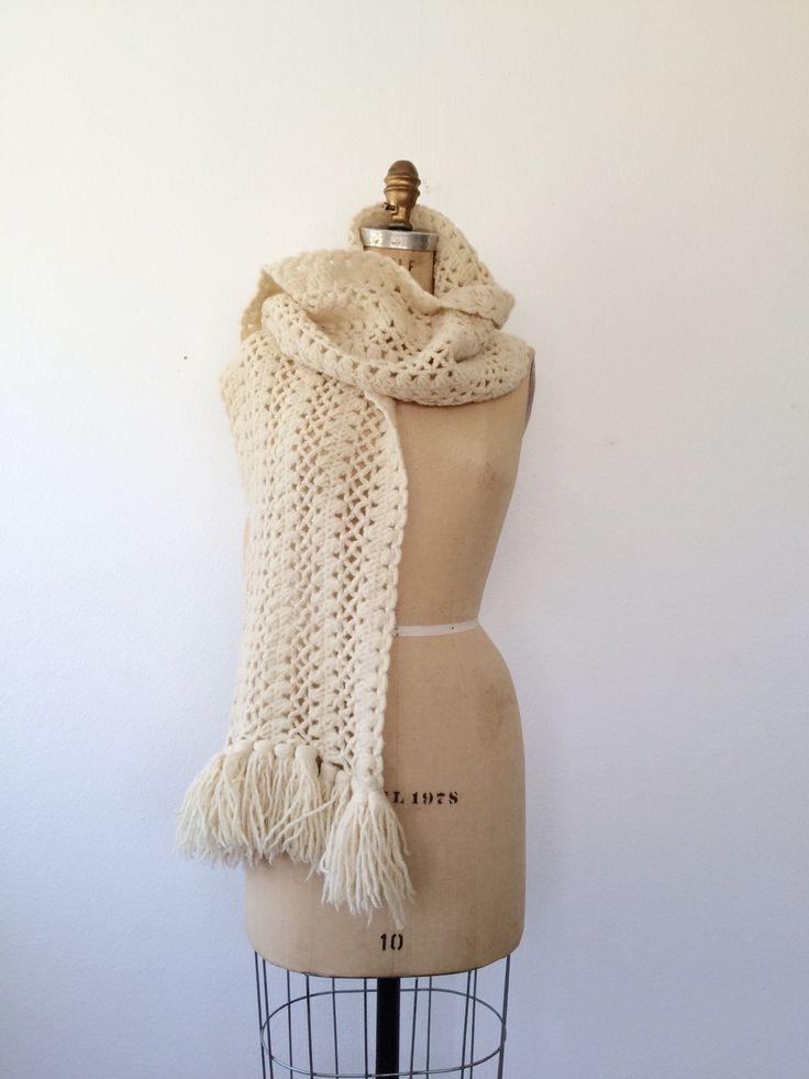Vintage handgemaakte sjaal breien  Kabel-Knit® en lattice steek grote kwast…