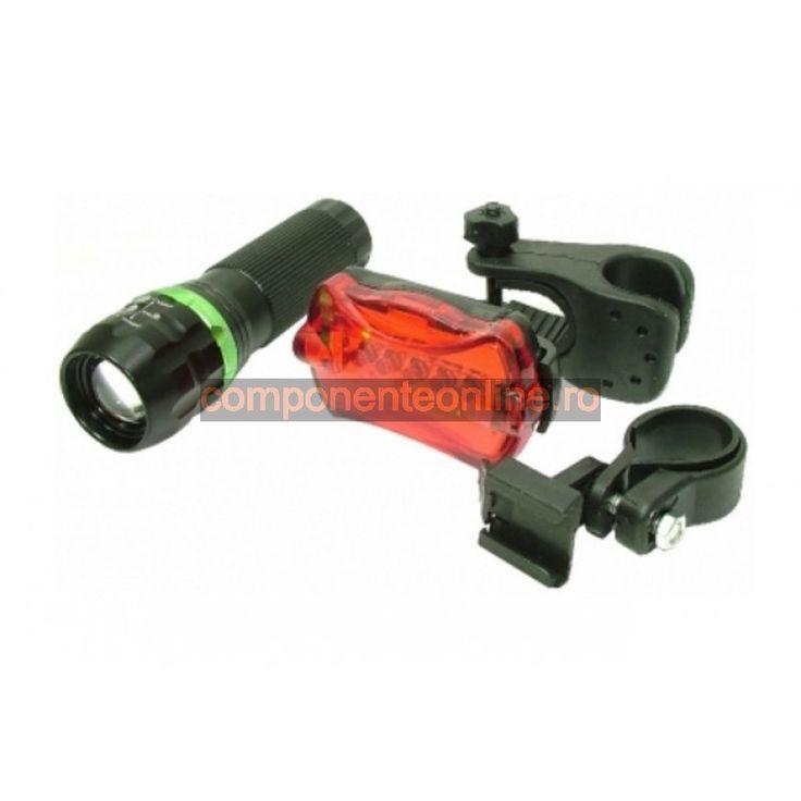 Lanterna cu 1 LED CREE si stop, pentru biciclete, focalizare rotativa - 113348