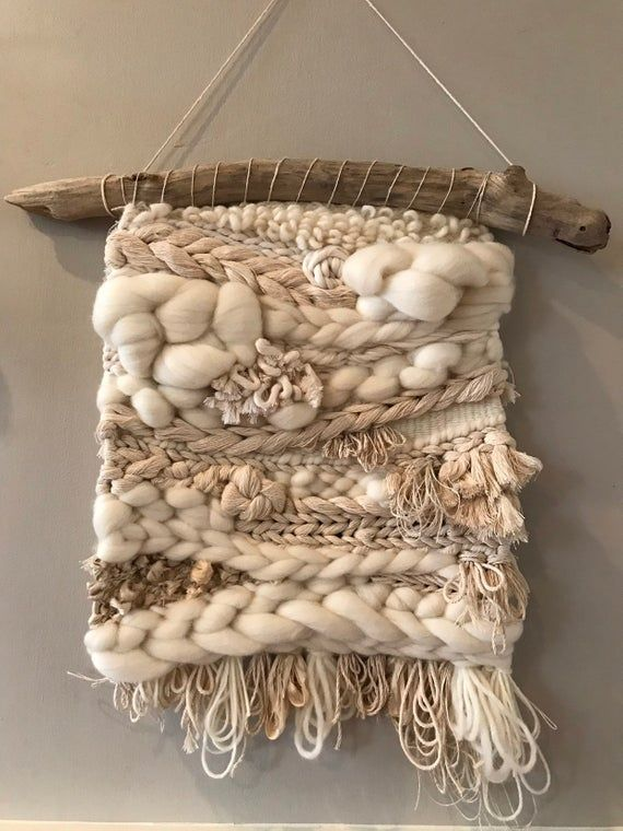 Roving In White, Great Blue Fiber, modern weaving, details in white cotton, linen, silk and wool, driftwood, texture, handmade, woven wall