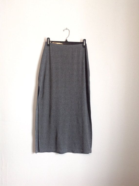 90's Minimal Grey Maxi Guess Skirt by DamselflyGoods on Etsy