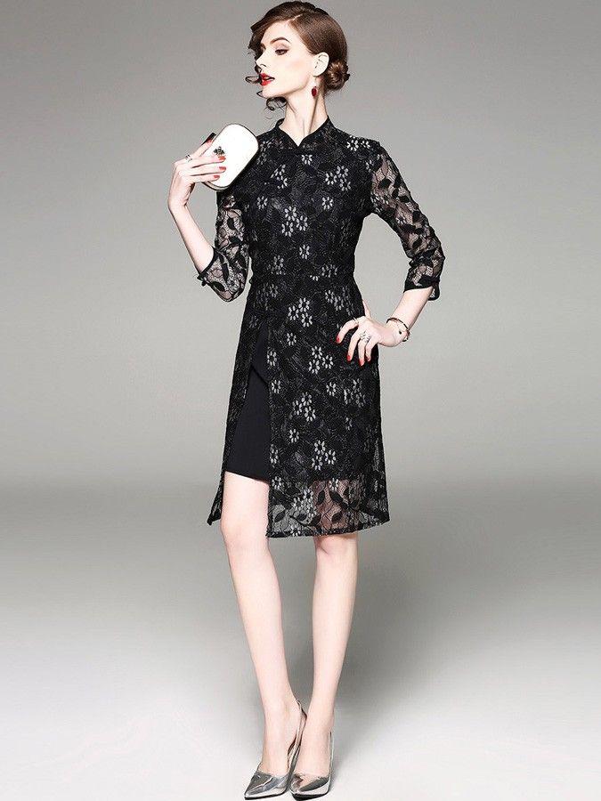 Black Lace Split Qipao / Cheongsam Dress
