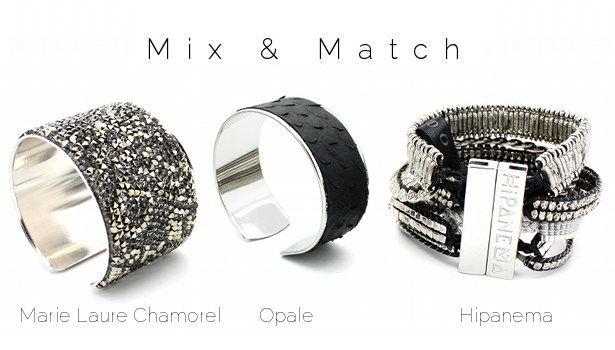 Mix & Match www.lilishopping avec une manchette Marie Laure Chamorel, un manchette python noir Opale et la manchette Silver Hipanema