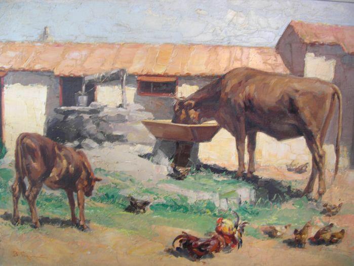 Βάσος Γερμενής 'Αγροτική αυλή με αγελάδες'