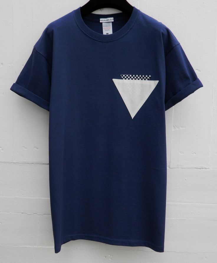 Men's Triangle Checkers Pocket in Pocket Pattern, Navy Pocket T-Shirt, Men's T- Shirt, Pocket tee, Menswear, UK, Custom Made T-Shirts by HeartLabelTees on Etsy