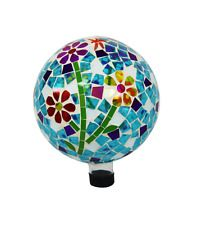 "10"" Gazing Ball Mosaic Glass Garden Globe Statue Yard Lawn Patio Decor Back New"