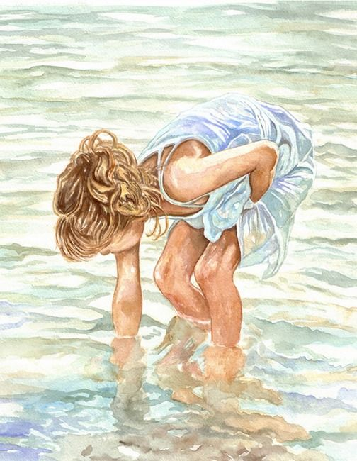 The treasure finder - (watercolor)  by Christina Bailey - Print available for purchase ---*---  Love the waterWall Art, Beach Art, Treasure Finder, Art Watercolors, Hidden Treasure, Christina Baileys, Art Prints, Watercolors Art Beach, Watercolors Painting