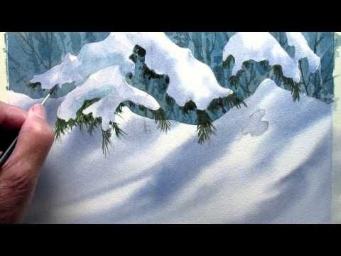 A simple technique for painting snow. Good beginner lesson using 3 colors. Peter Sheeler - YouTube